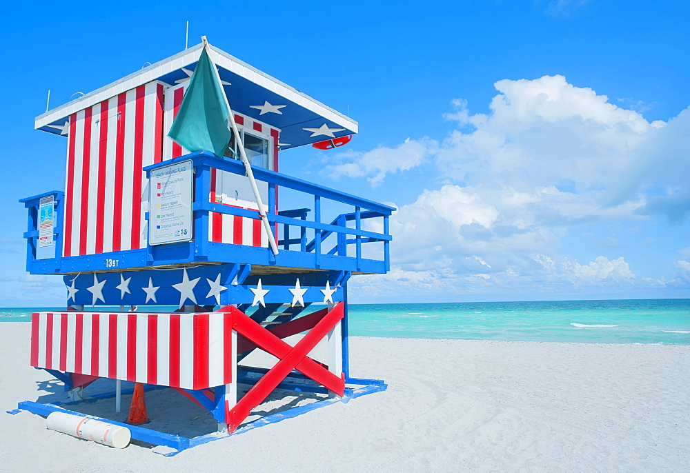 Lifeguard hut on beach, South Beach, Miami, Florida, United States of America, North America - 718-1614