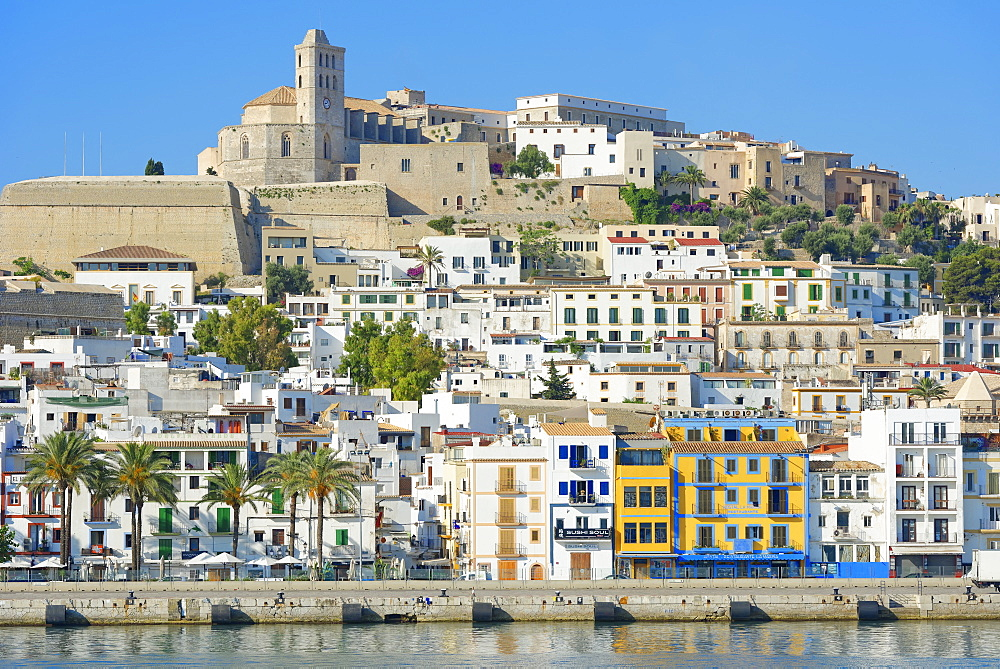 View of Ibiza old town and Dalt Vila, UNESCO World Heritage Site, Ibiza, Balearic Islands, Spain, Mediterranean, Europe