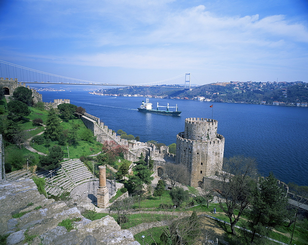 View of Anadolu Kavagi castle and Galata bridge, Bosphorus, Istanbul, Turkey, Europe, Eurasia