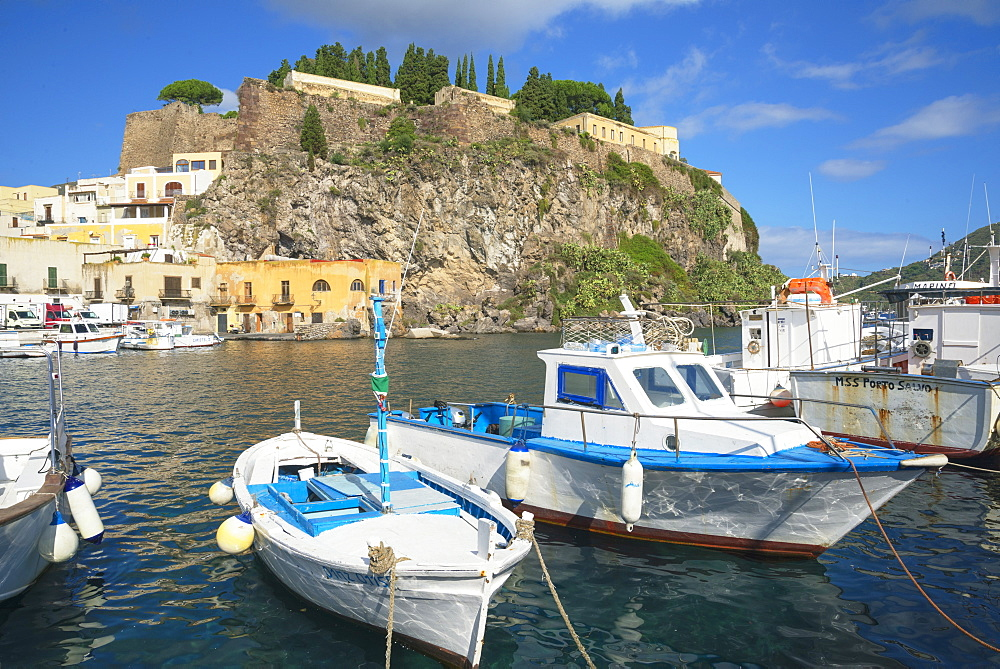 Marina Corta harbor, Lipari Island, Aeolian Islands, UNESCO World Heritage Site, Sicily, Italy, Mediterranean, Europe - 718-2177