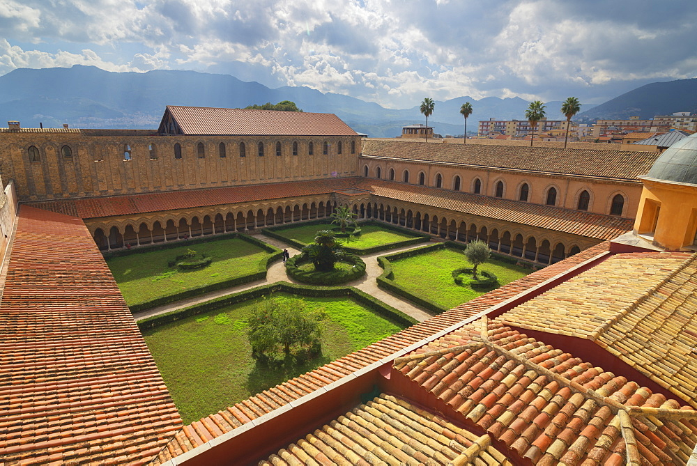 Cloister, Cathedral of Monreale, Monreale, Palermo, Sicily, Italy, Europe - 718-2185