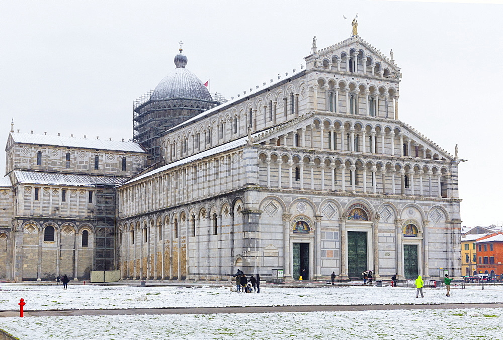 The Cathedral of Pisa on a snowy day, UNESCO World Heritage Site, Pisa, Tuscany, Italy, Europe - 718-2301