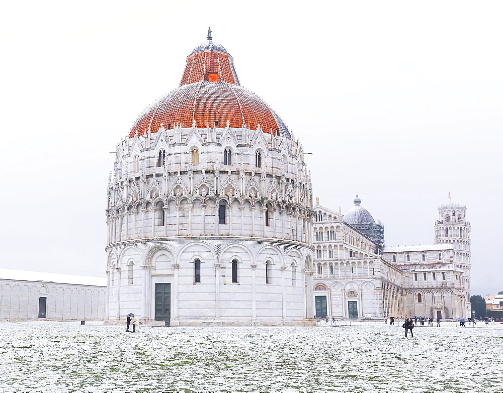 Baptistery, Cathedral and Leaning Tower on a snowy day, UNESCO World Heritage Site, Pisa, Tuscany, Italy, Europe - 718-2303