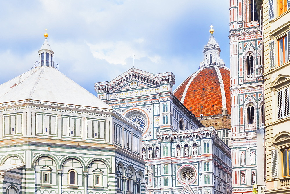 View of Unesco's Duomo Santa Maria del Fiore, Giotto's Campanile and Brunelleschi's dome, Florence, Tuscany, Italy, Europe