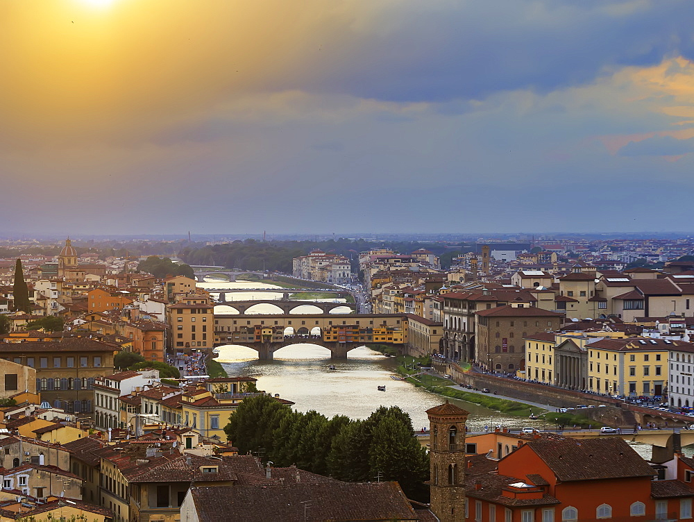 View from Piazzale Michelangelo of the City and the Arno River, Florence, Tuscany, Italy, Europe - 718-2334