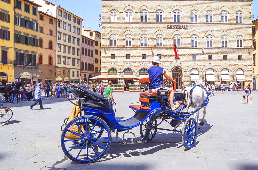 Horse carriage on Piazza della Signoria, Florence; Tuscany; Italy; Europe