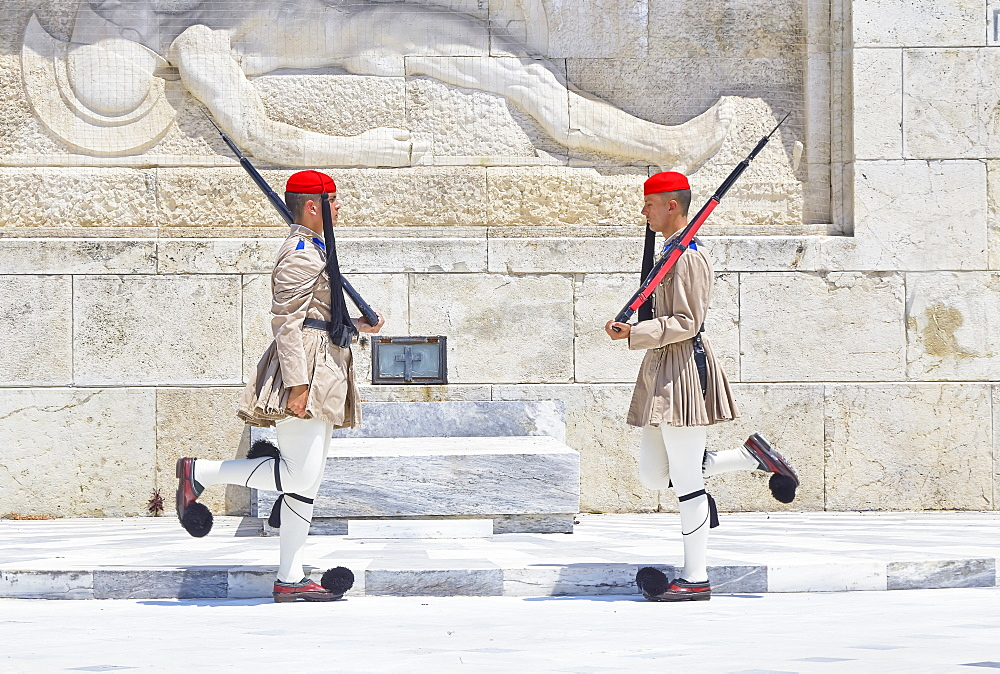 Evzone soldiers performing change of guard, Athens, Greece, Europe
