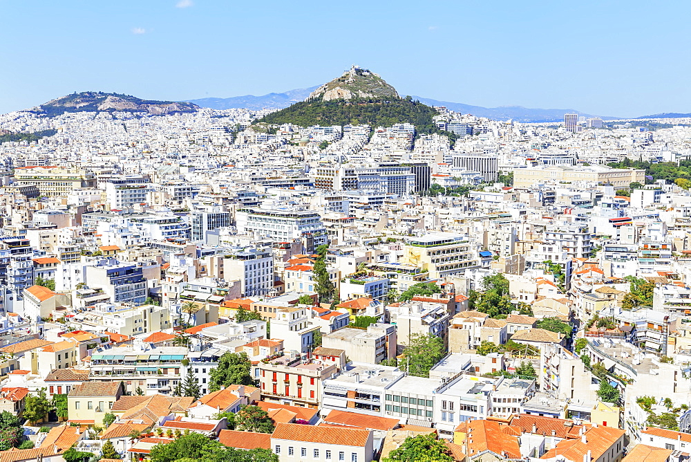 High angle view of Athens city centre, Athens, Greece, Europe