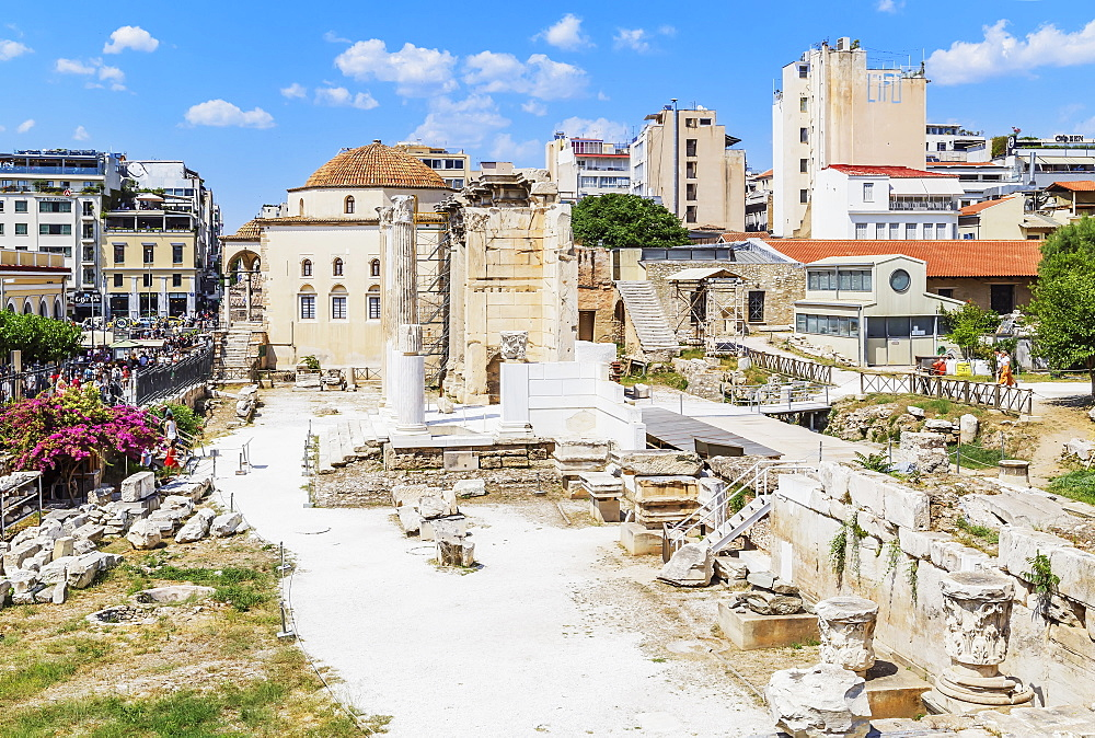 Remains of the Hadrian's Library and the old mosque in Monastiraki Square, Athens, Greece, Europe