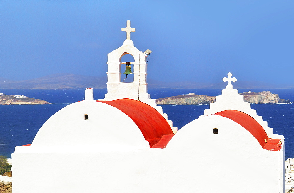Greek Orthodox chapel overlooking Mykonos Town, Mykonos, Cyclades Islands, Greek Islands, Greece, Europe