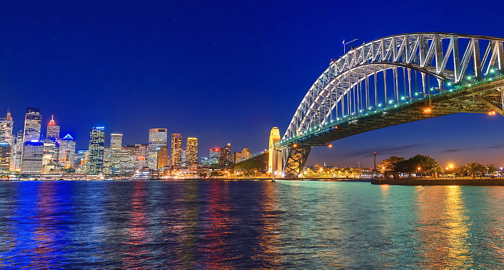 View of Harbour Bridge and Central Business District skyline, Sydney, New South Wales, Australia, Pacific