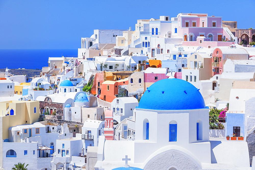 View of Oia village, Oia, Santorini, Cyclades Islands, Greek Islands, Greece, Europe
