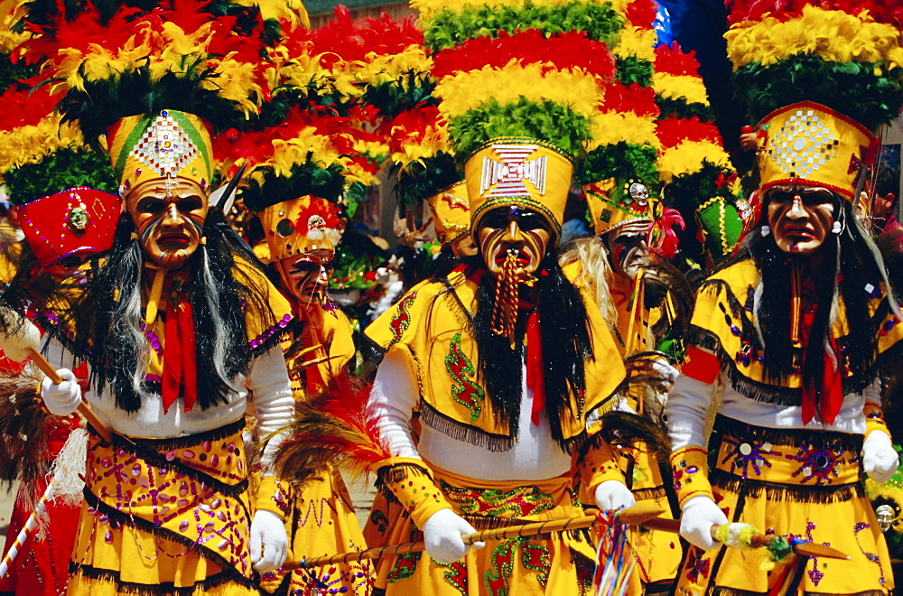 A group of Tobas performing the Devil Dance - La Diablada, during the carnival, Oruro, Bolivia, South America - 718-27