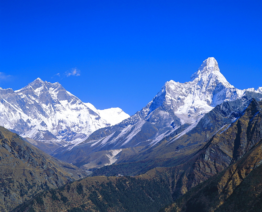 Ama Dablam and Lhostche mountains, Himalayas, Hotel Everest view, Namche Bazaar, Nepal - 718-380