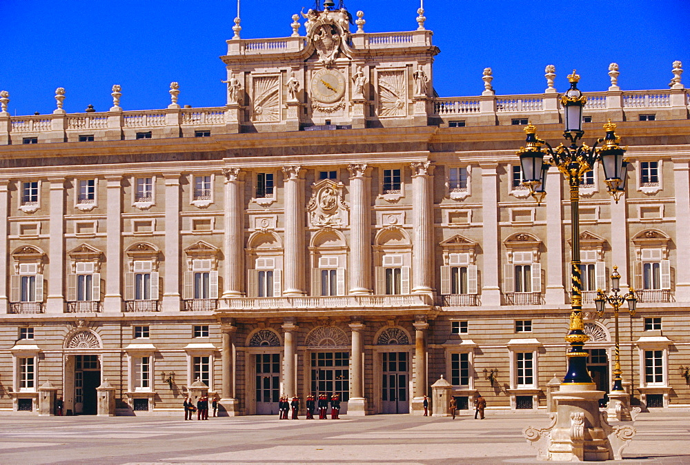 Palacio Real and royal guards on parade, Baroque Spanish architecture, Madrid, Spain - 718-425