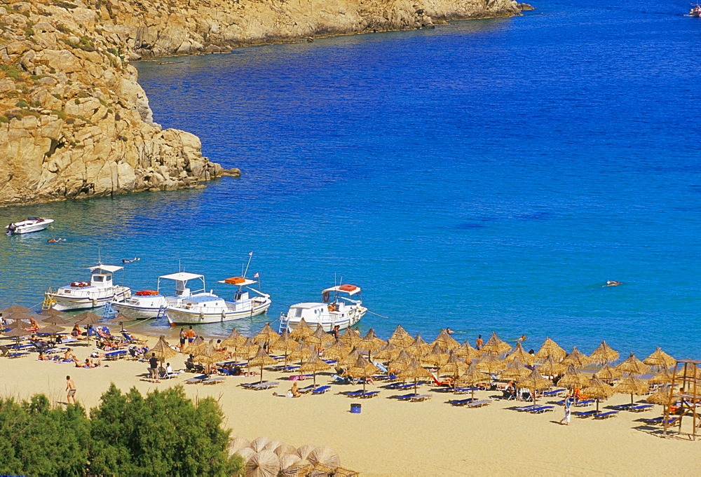 Aerial view of Super Paradise beach, Mykonos, Cyclades islands, Greece, Mediterranean, Europe