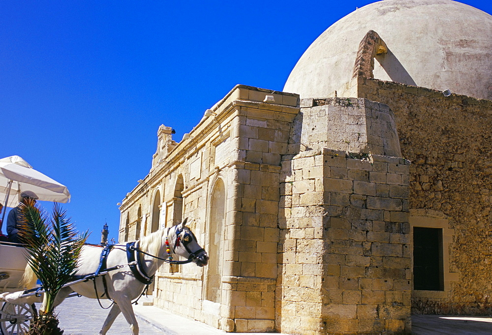 Horse drawn carriage and Turkish mosque, Hania (Chania), island of Crete, Greece, Meidterranean, Europe