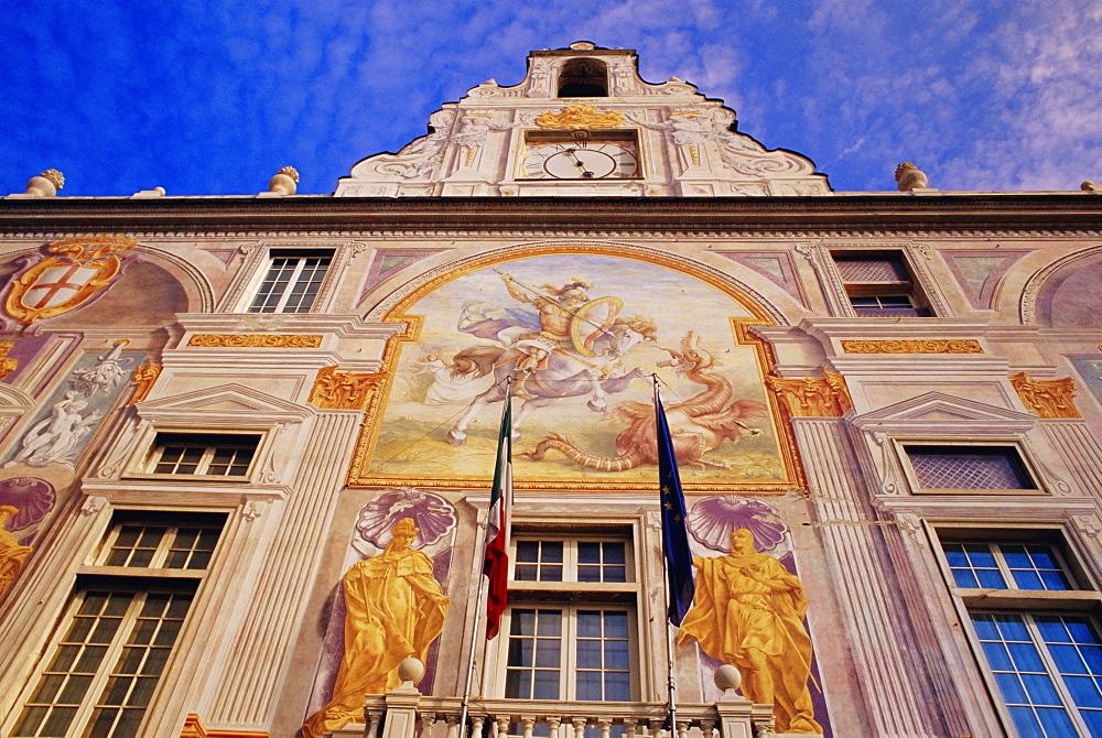 Frescoes on facade of Palazzo San Giorgio, Genoa (Genova), Italy - 718-674