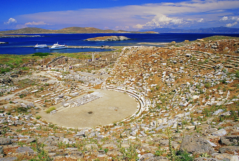 View of the theatre and the island, Delos, Cyclades Islands, Greece