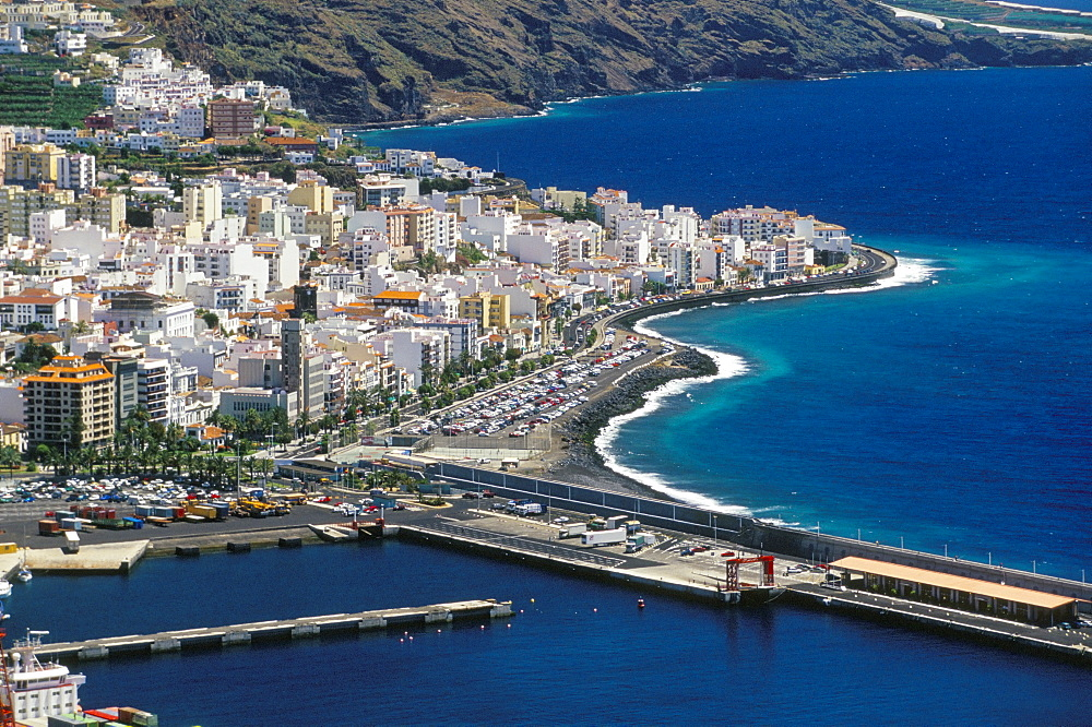 Aerial view of Santa Cruz de la Palma and harbour, Santa Cruz de la Palma, La Palma, Canary Islands, Spain, Atlantic, Europe - 718-734