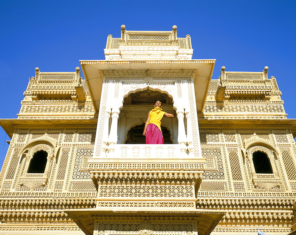 Jain priest and Jain temple, Amar Sagar, near Jaisalmer, Rajasthan state, India, Asia
