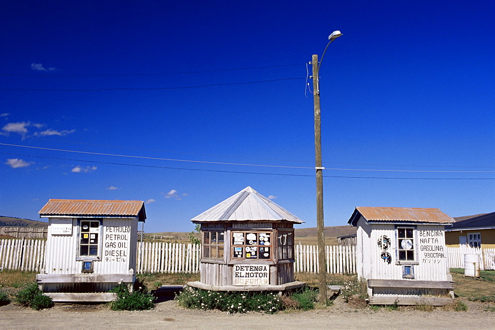 A gasoline station near Puerto Natales, Patagonia, Chile, South America