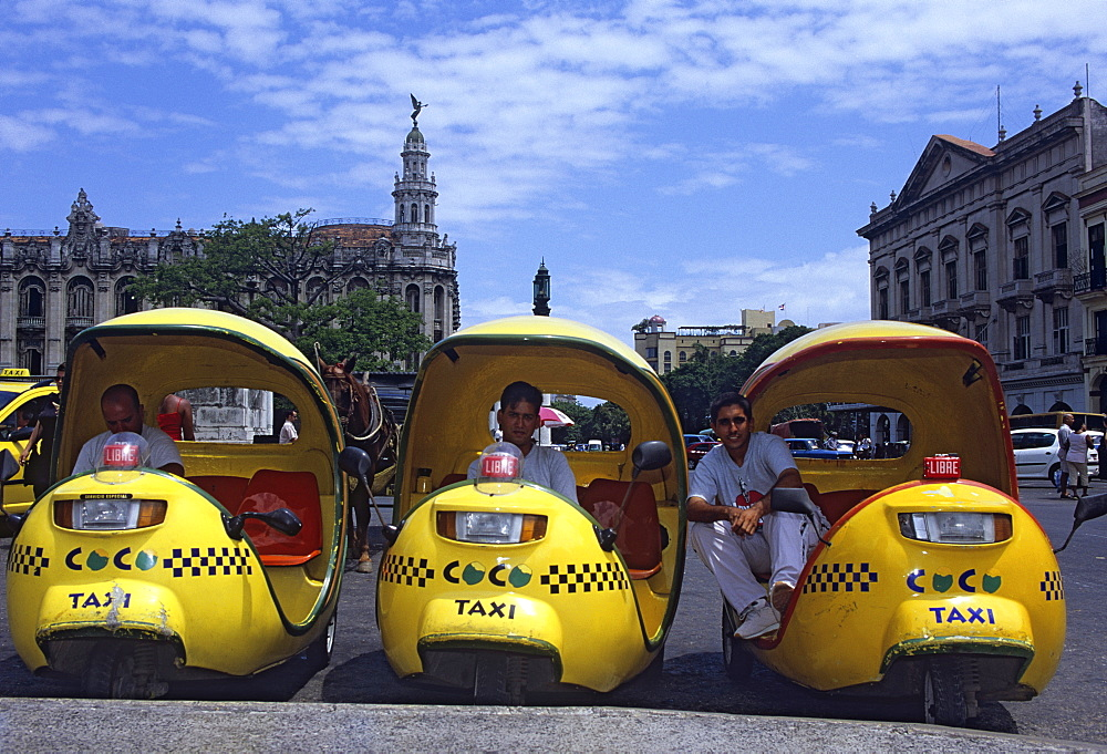 Coco taxi rank outside the Capitolio, Central Havana, Cuba, West Indies, Central America - 722-114
