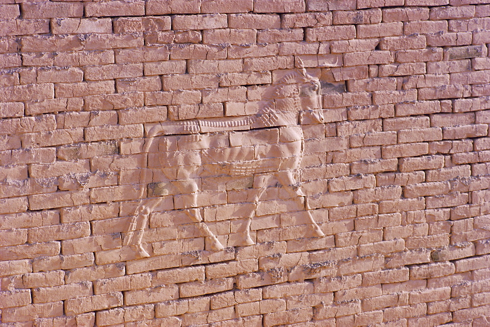 Lion brick relief, Nebuchadnezzar's Palace, Babylon, Iraq, Middle East