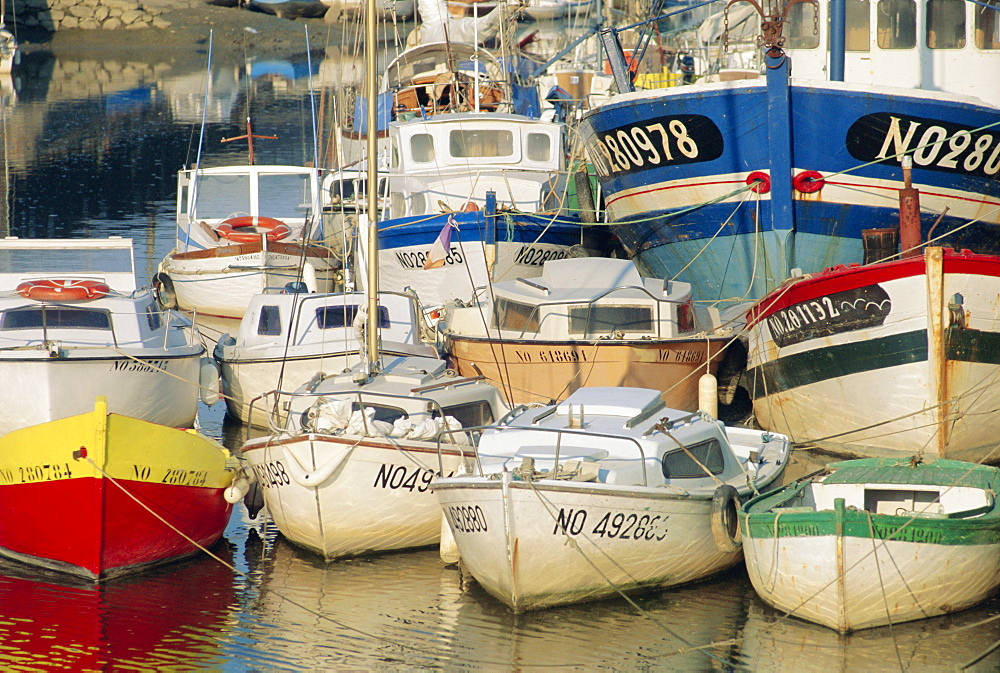 Boats in harbour, Noirmoutier-en-Ile, Island of Noirmoutier, Vendee, France