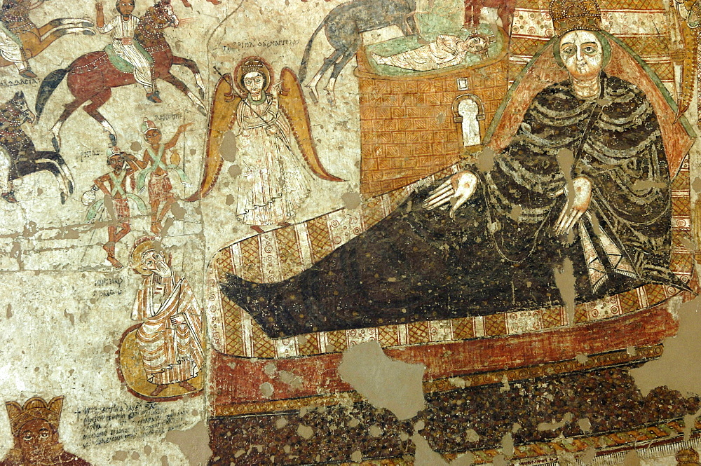 The Annunciation, Farras Cathedral, frescoes and murals from ruined Nubian churches, dating from the 8th to the 15th centuries, The National Museum, Khartoum, Sudan, Africa