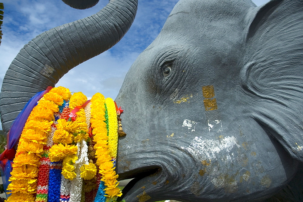 Detail of elephant statue, Chalong Temple, Muang District, Phuket, Thailand, Southeast Asia, Asia - 724-2074
