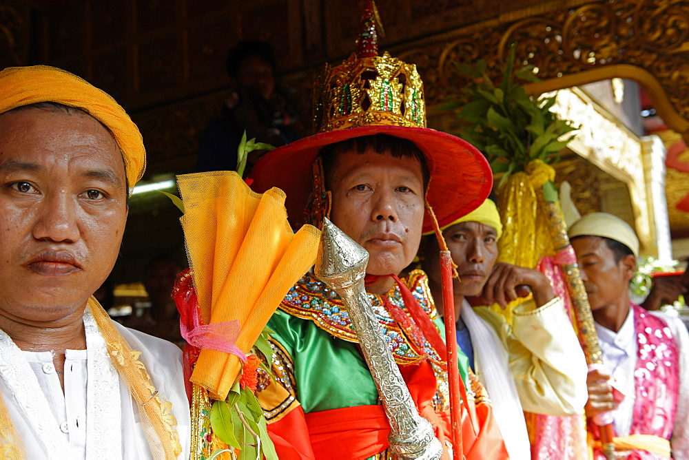The queens and the ministers at the biggest Nat ritual (Festival of Spirits) in Taungbyon, Mandalay Division, Republic of the Union of Myanmar (Burma), Asia  - 724-2368
