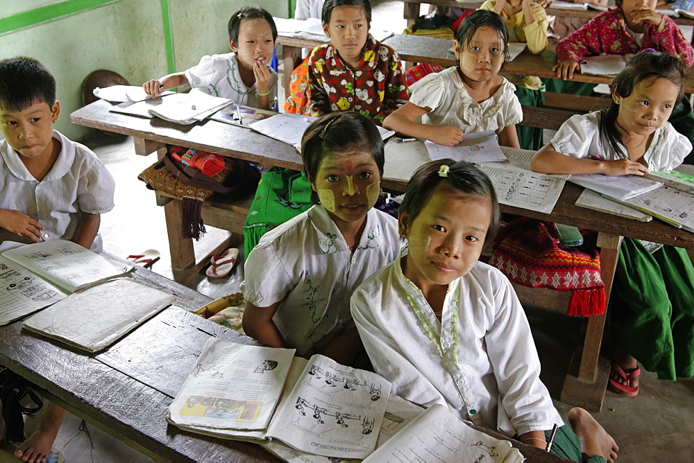 Primary school, Thet Kel Kyin village, Indaw area. Sagaing Division, Republic of the Union of Myanmar (Burma), Asia