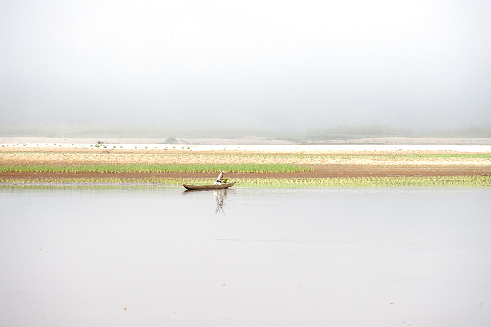 Along Tsiribihina, a river flowing from Madagascar in the Mozambique Channel by a delta, Madagascar, Indian Ocean, Africa