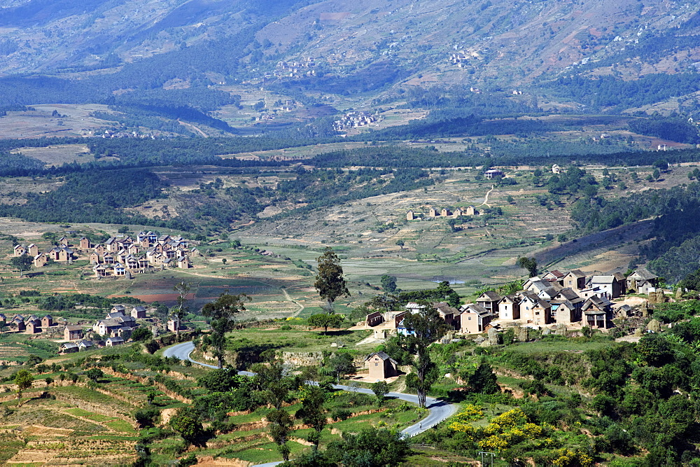 Landscape of the central highlands in the region of Ankaratra, Madagascar, Africa  - 724-2472