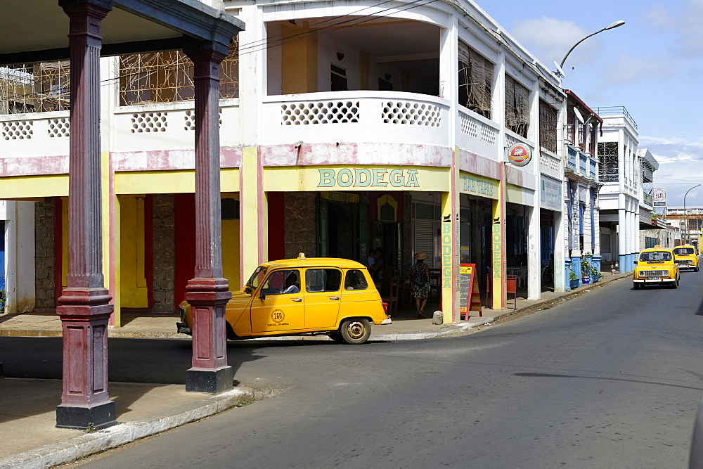 Yellow taxi, Antsiranana (Diego Suarez), capital of Diana Region, Madagascar, Africa  - 724-2476