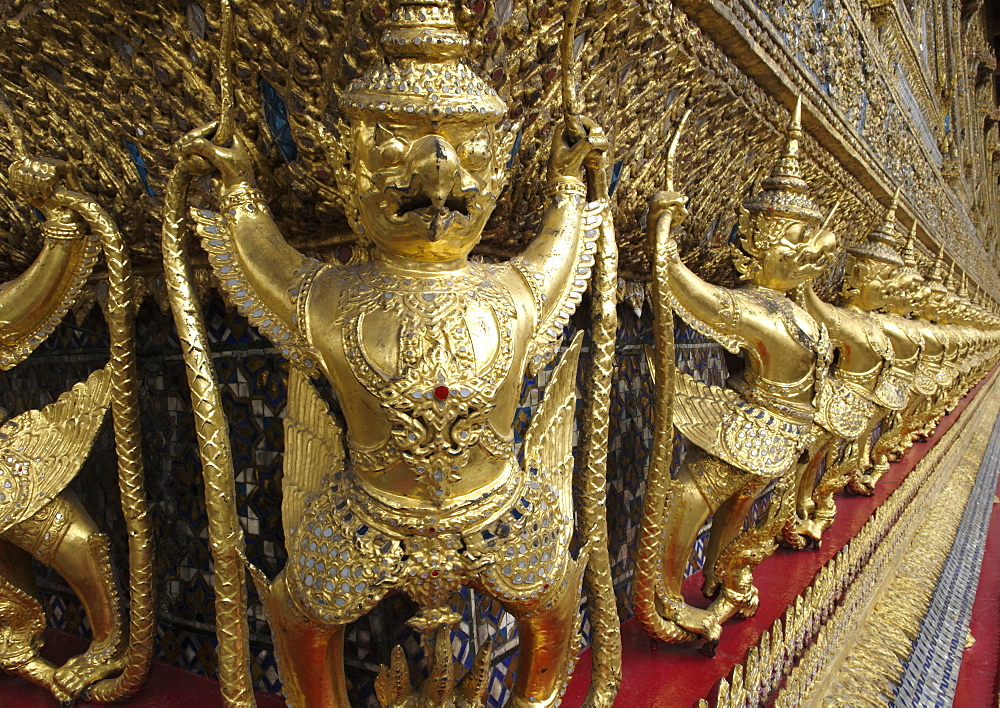 Garudas and nagas on external decorations of the Ubosoth, Wat Phra Kaew temple, Grand Palace, Bangkok, Thailand - 724-2498
