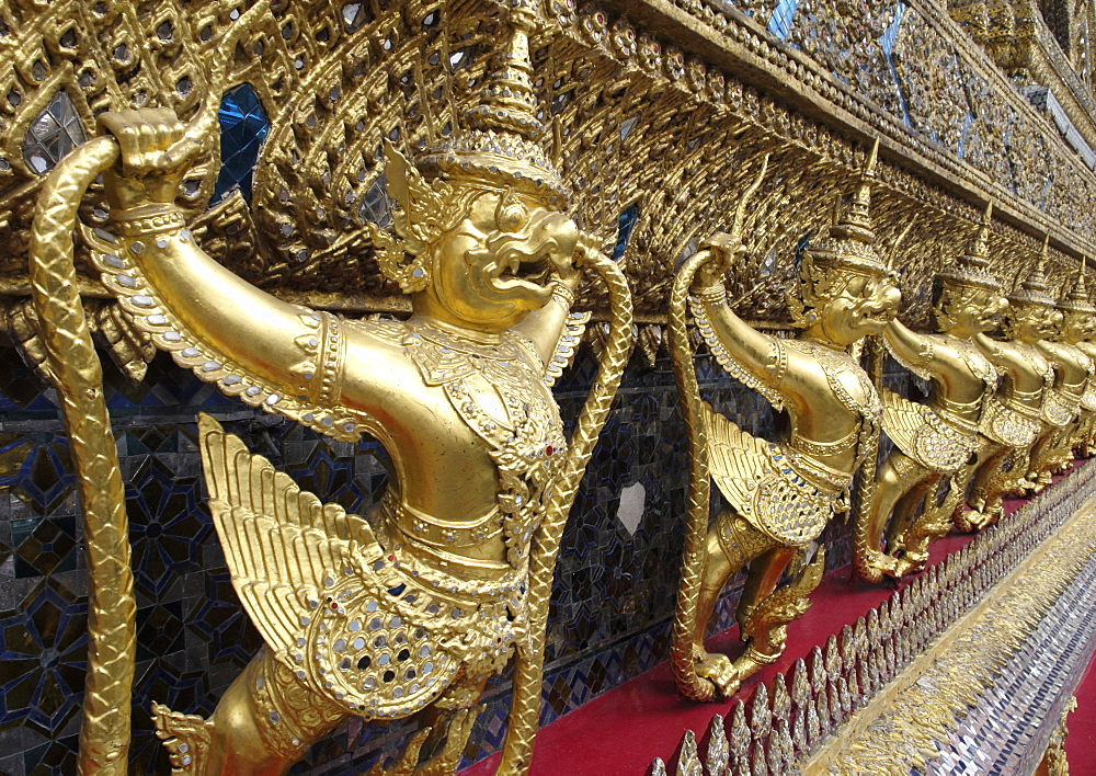 Garudas and nagas on external decorations of the Ubosoth, Wat Phra Kaew temple, Grand Palace, Bangkok, Thailand - 724-2499