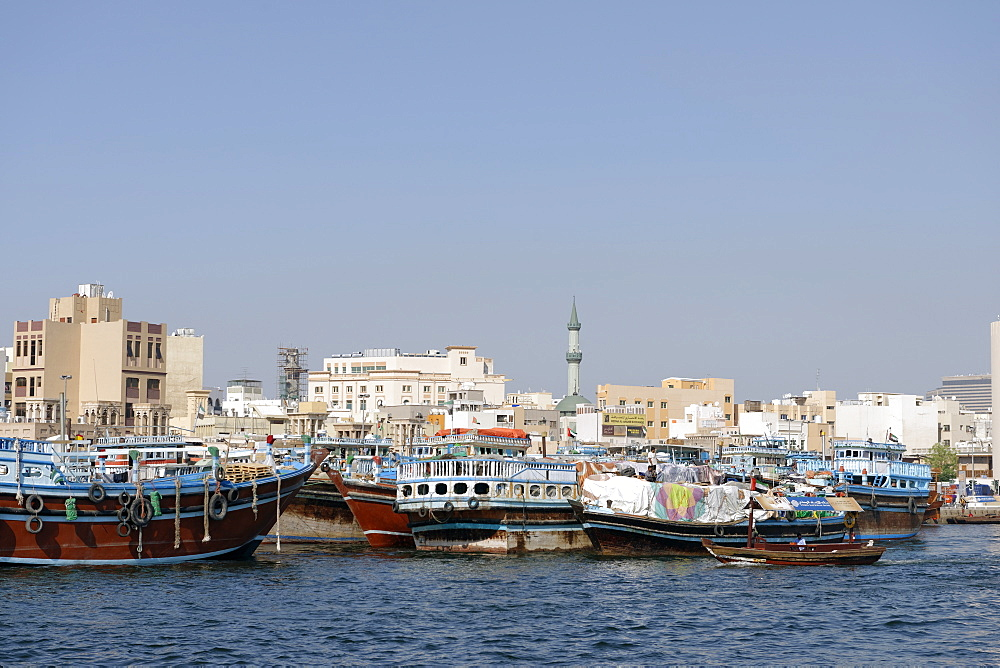 Trading dhows on the docks of Dubai Creek, Deira, Dubai, United Arab Emirates, Middle East - 724-2515