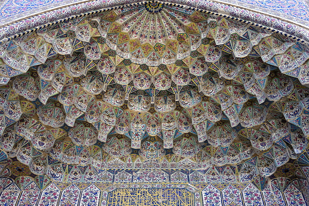 Facade of entrance arcade to The Vakil Mosque, west of the Vakil Bazaar, Shiraz, Iran, Middle East