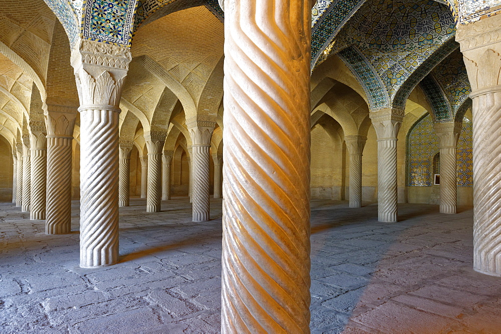 Shabestan prayer hall, The Vakil Mosque, west of the Vakil Bazaar, Shiraz, Iran, Middle East