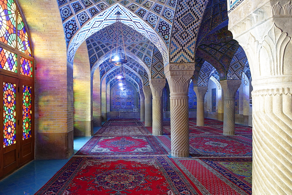 Nasir-ol-Molk Mosque (Rose Mosque), Shiraz, Iran, Middle East - 724-2524
