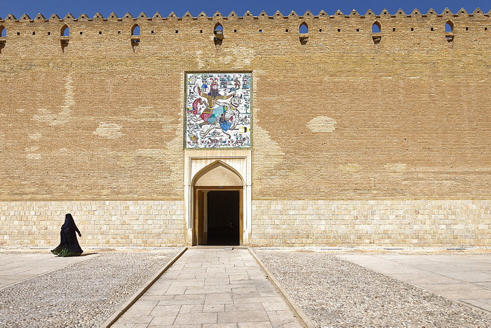 The Karim Khan Castle, panel of tiles above the entrance to the citadel, Rostam killing the white demon, Shiraz, Iran, Middle East - 724-2528
