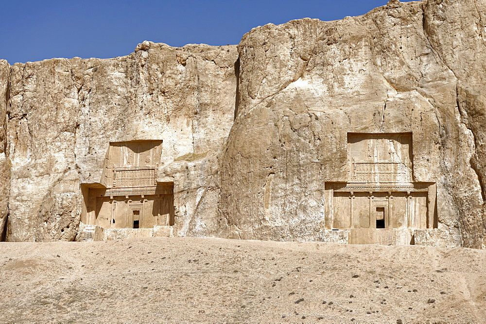 The tombs of Achaemenid kings at the historical Naqsh-e Rostam necropolis, Persepolis area, Iran, Middle East - 724-2529