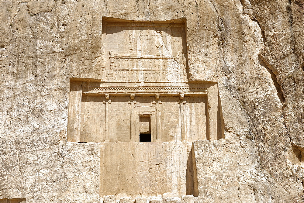 The tomb of Darius I at the historical Naqsh-e Rostam necropolis, Persepolis area, Iran, Middle East - 724-2532
