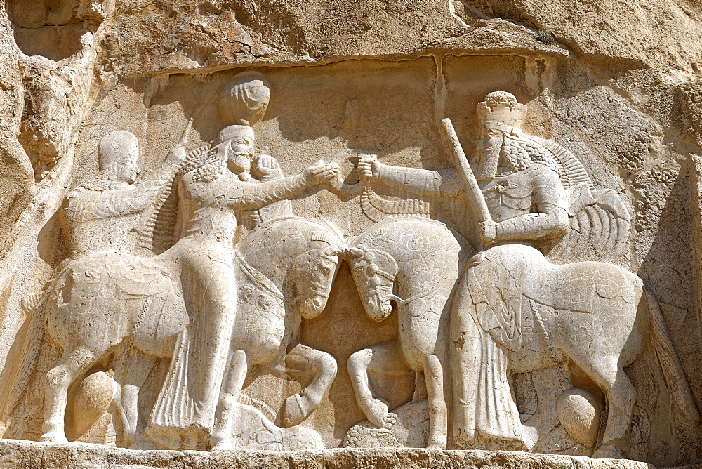 Bas relief showing the investiture of Ardashir I, Naqsh-e Rostam necropolis, Persepolis area, Iran, Middle East - 724-2535