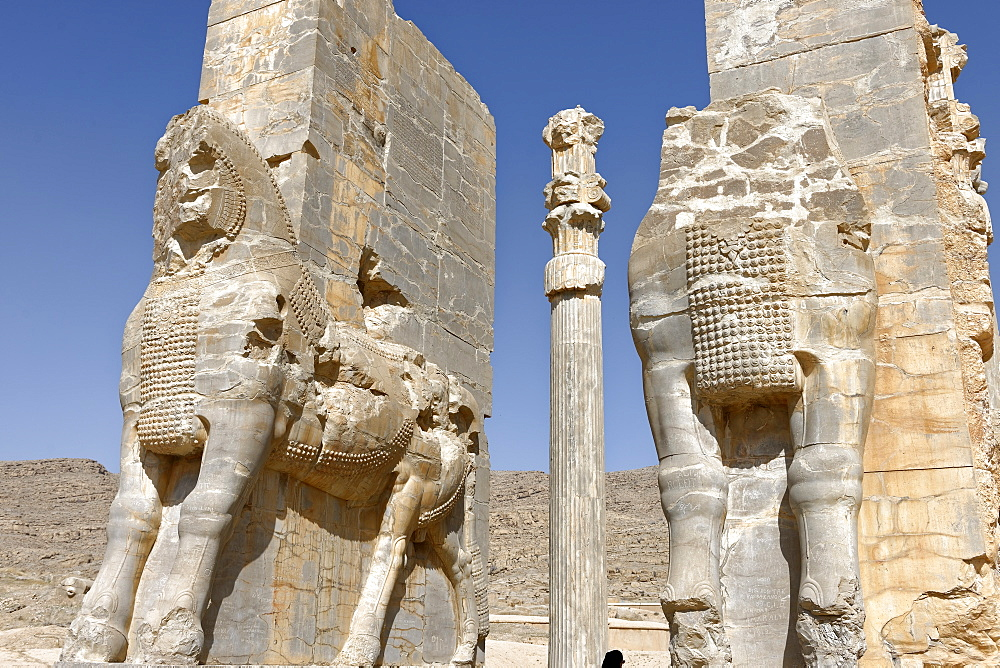 Bulls of the Gate of All the Nations, Persepolis site, Persepolis, Iran, Middle East - 724-2536