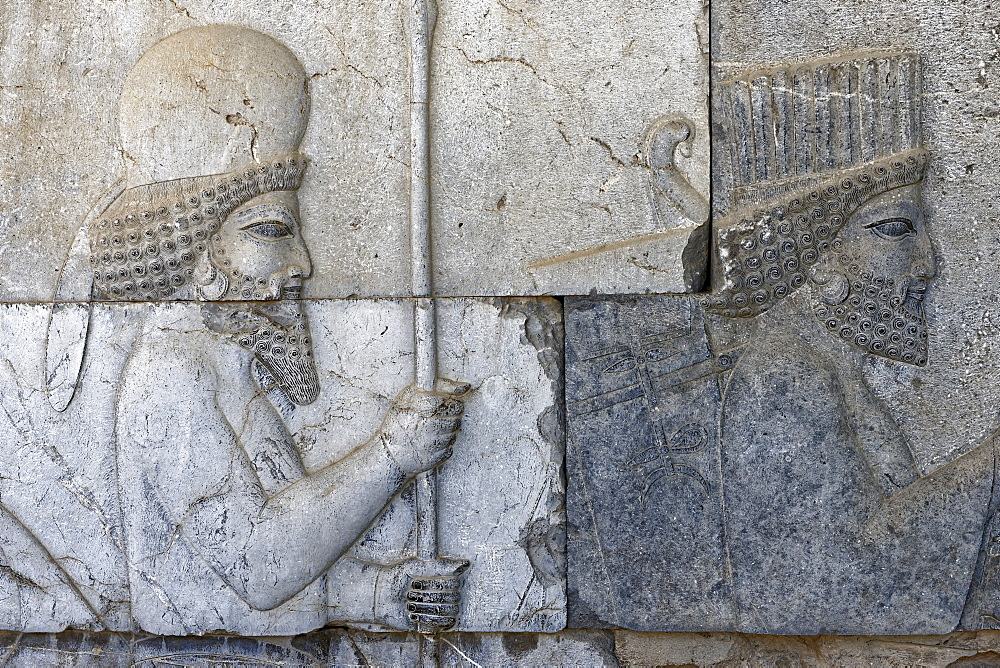 Depiction of united Medes and Persians, the monumental stairs of the Apadana, Persepolis, Iran, Middle East - 724-2541