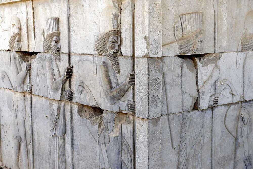 Depiction of united Medes and Persians, the monumental stairs of the Apadana, Persepolis, Iran, Middle East