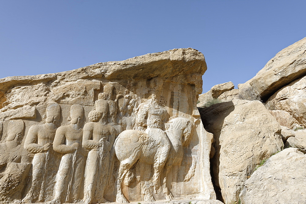 Parade of Shapur I, Naqsh-e Rajab, four Sassanid bas-reliefs of the third century, Region of Persepolis, Iran, Middle East